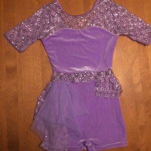 NEW Dance Costume Bodysuit w/ sequined lace, S